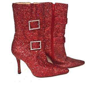 Vintage Manolo Blahnik Red Glitter Booties Size 7